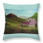 Buildings In Landscape Throw Pillow