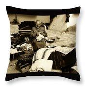 Bulgarian Market Lady Throw Pillow
