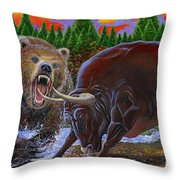 Bull And Bear Throw Pillow