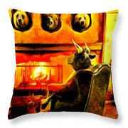 Bull At Night Throw Pillow