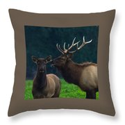 Bull Bugling For His Cow Throw Pillow