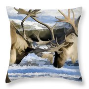 Bull Elk Fighting  Throw Pillow