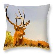Bull Elk Resting In The Grass Throw Pillow