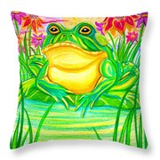 Bull Frog And The Moon Throw Pillow