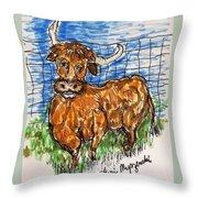 Bull Throw Pillow