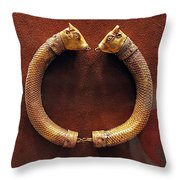 Bull-heads Necklace Throw Pillow by Andonis Katanos