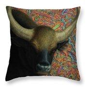 Bull In A Plastic Shop Throw Pillow