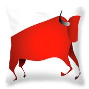 Bull Looks Like Cave Painting Throw Pillow by Michal Boubin