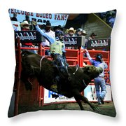 Bull Riding At The Grand National Rodeo Throw Pillow