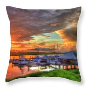 Bull River Marina Sunrise 2 Sunrise Art Throw Pillow