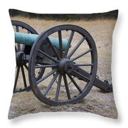 Bull Run Green Cannon In Field Throw Pillow