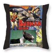 Bull Terrier Art Canvas Print - Batman Movie Poster Throw Pillow