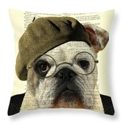 Bulldog Portrait, Animals In Clothes Throw Pillow