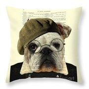 Bulldog Portrait, Animals In Clothes Throw Pillow