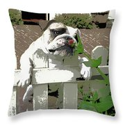 Bulldog Sniffing Flower At Garden Fence Throw Pillow