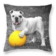 Bulldog Soccer Throw Pillow