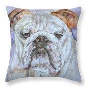 Bulldog - Watercolor Portrait.5 Throw Pillow