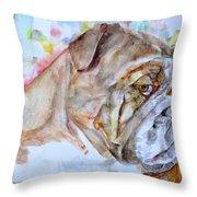 Bulldog - Watercolor Portrait.7 Throw Pillow