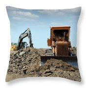 Bulldozer And Excavator On Road Construction Throw Pillow