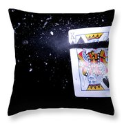 Bullet Hitting A Playing Card Throw Pillow