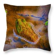 Bullfrog In Water Throw Pillow
