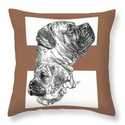 Bullmastiff And Pup Throw Pillow