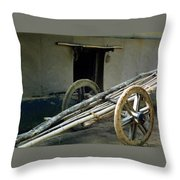 Bullock Cart Throw Pillow
