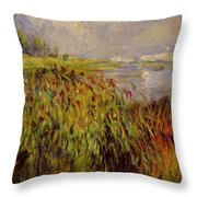 Bulrushes On The Banks Of The Seine 1874 Throw Pillow