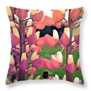 Bumble Bee And Flowers Throw Pillow