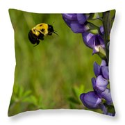 Bumble Bee And Milk-vetch Throw Pillow