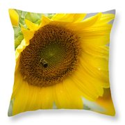 Bumble Bee And The Sunflower Throw Pillow