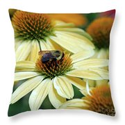 Bumble Bee At Work Throw Pillow