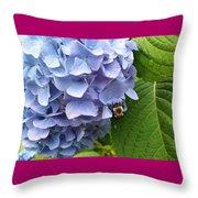 Bumble Bee Blues Throw Pillow