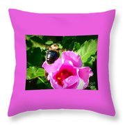 Bumble Bee Flying To Flower Throw Pillow