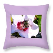 Bumble Bee Making His Escape From Hibiscus Flower Throw Pillow