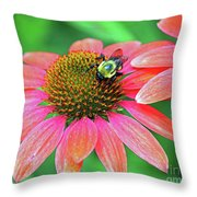 Bumble Bee On Flower Throw Pillow
