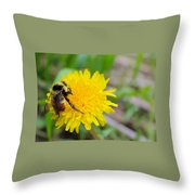 Bumble Bees And Dandelions Throw Pillow