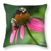 Bumble Bees At Work Throw Pillow