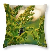 Bumblebee And Canadian Goldenrod 15 Throw Pillow