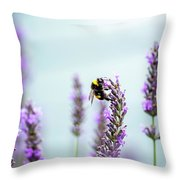 Bumblebee And Lavender Throw Pillow