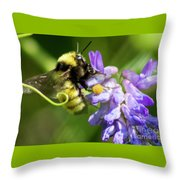 Bumblebee On A Blue Giant Hyssop Throw Pillow