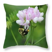 Bumblebee On Crown Vetch Throw Pillow