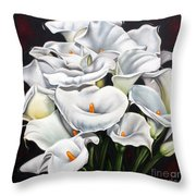 Bunch Of Lilies Throw Pillow by Ilse Kleyn