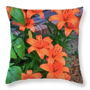 Bunch Of Orange Lilies Throw Pillow
