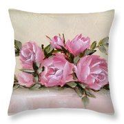 Bunch Of Pink Roses Painting Throw Pillow