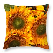 Bunch Of Sunflowers Throw Pillow