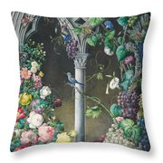 Bunches Of Roses Ipomoea And Grapevines Throw Pillow