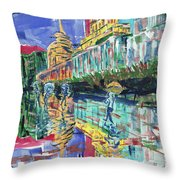 Bund In Shanghai, China, In Front Of The Custom House Clock Tower Throw Pillow