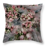 Bundles Of Pink Roses Are Gathered Throw Pillow