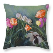 Bunnies In The Blooms Throw Pillow
